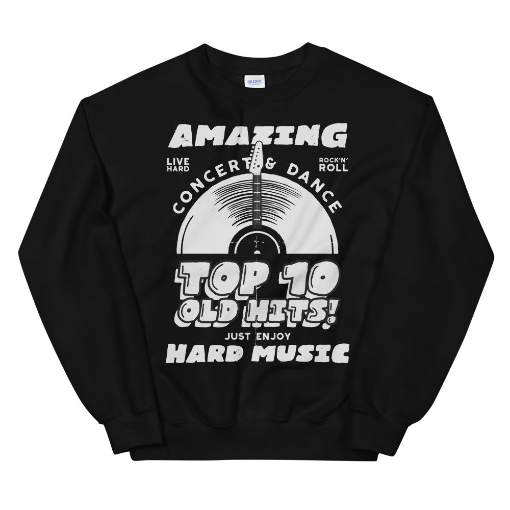Vintage Hard Music Top 10 Old Hits Poster Crewneck Sweatshirt