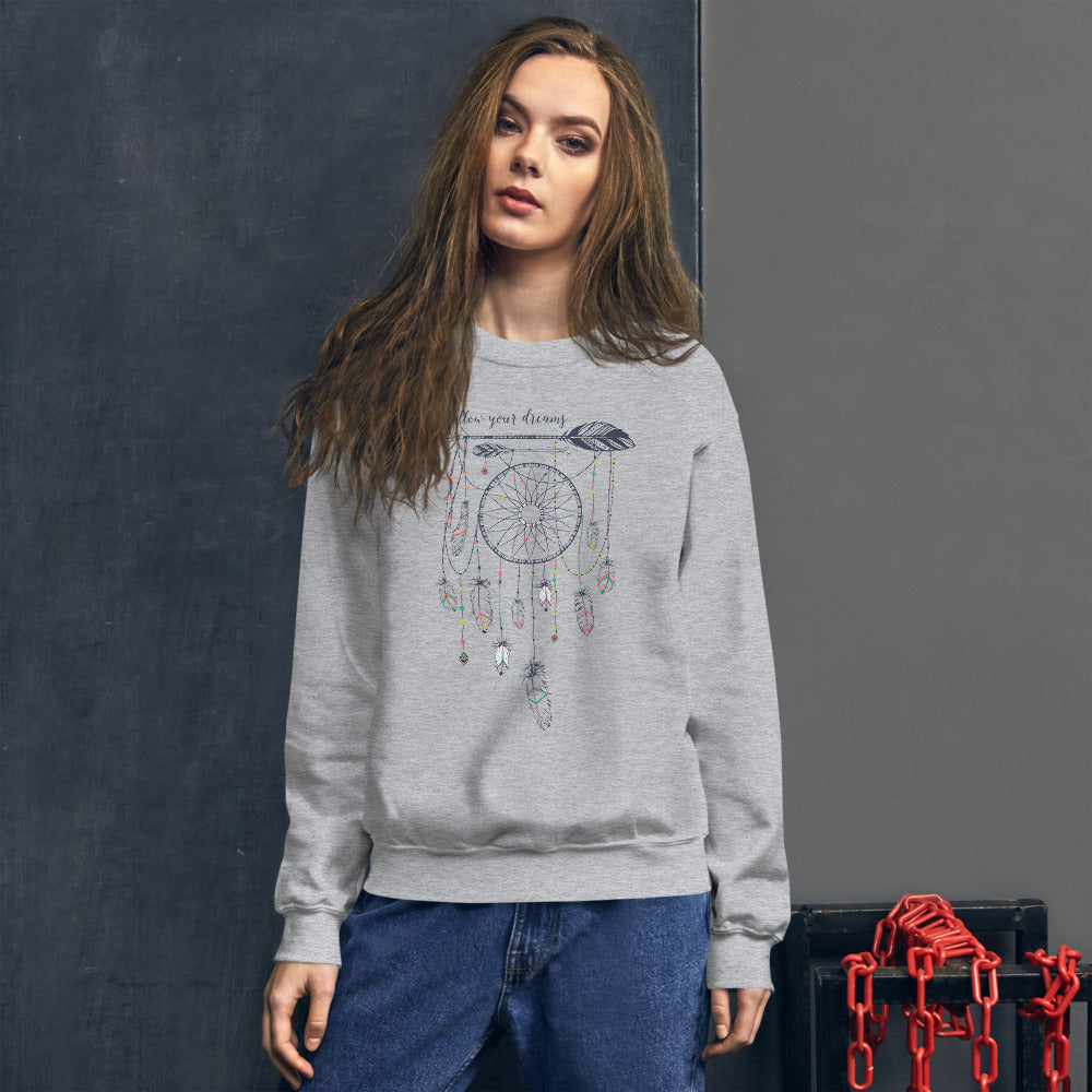 Follow Your Dreams Sweatshirt | Grey Boho Style Dream Catcher Sweatshirt