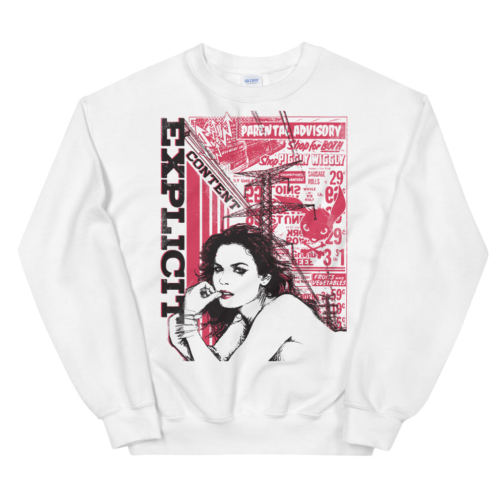 Explicit Content Sweatshirt | Parental Advisory Crewneck For Women
