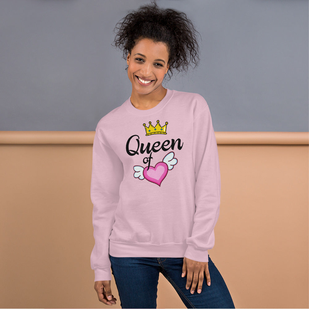 Queen of Heart Sweatshirt in Pink Color for Women