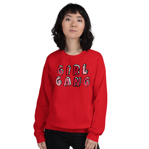 Red Girl Gang Pullover Crewneck Sweatshirt for Women