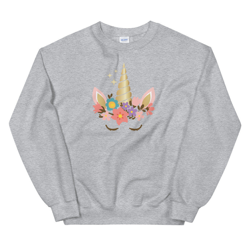 Unicorn Sweatshirt | Grey Cute Unicorn Sweatshirt for Women