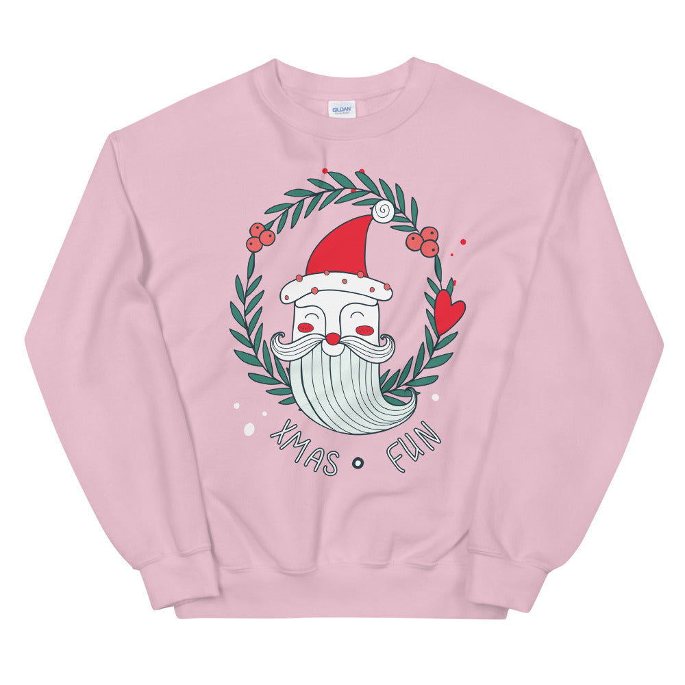 Santa Wreath Xmas Fun Crewneck Sweatshirt for Women