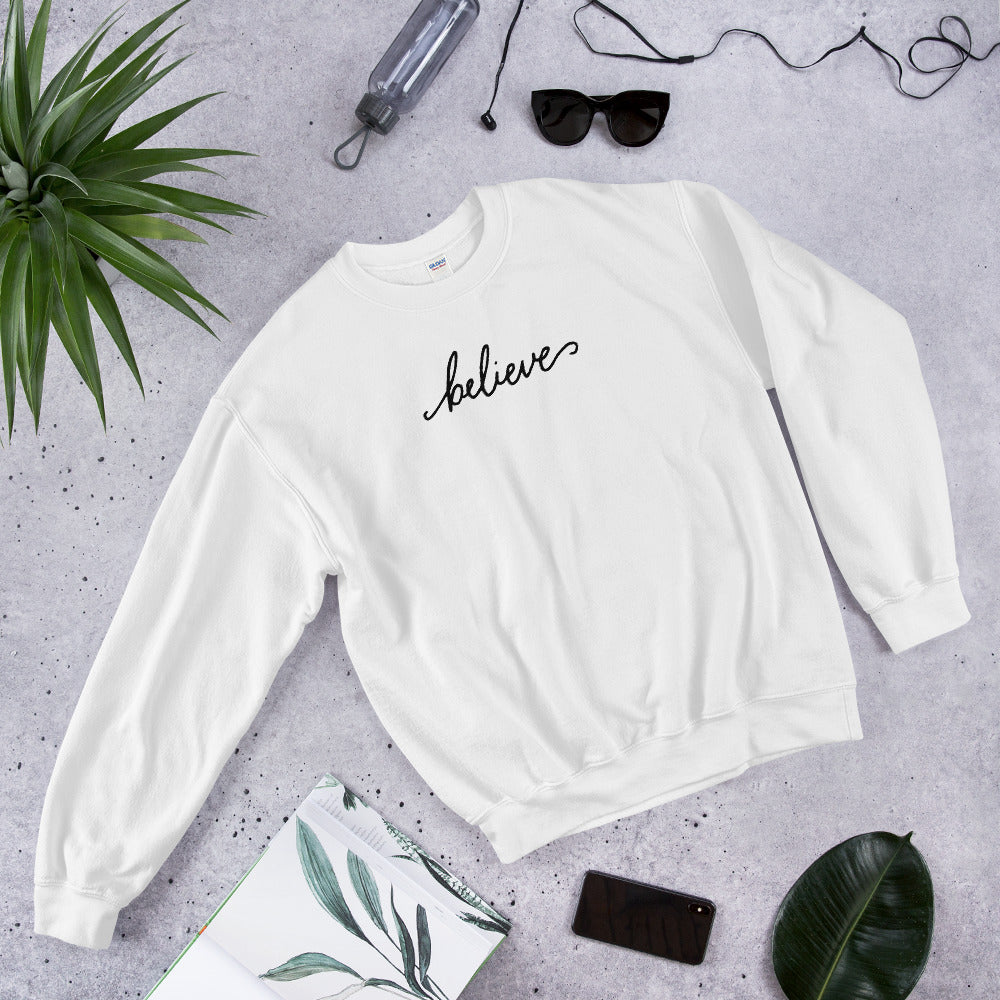 Believe Sweatshirt | White One Word Believe Sweatshirt for Women