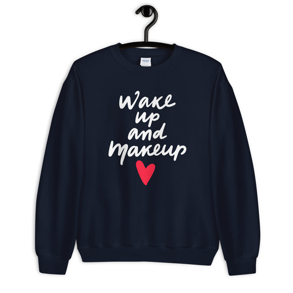 Wake Up and Makeup Sweatshirt in Navy Color