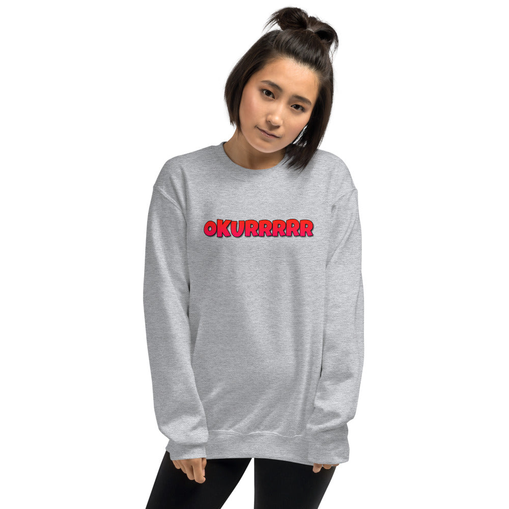 Okurrr Cardi B Meme Sweatshirt | Grey Okurrr Sweatshirt for Women
