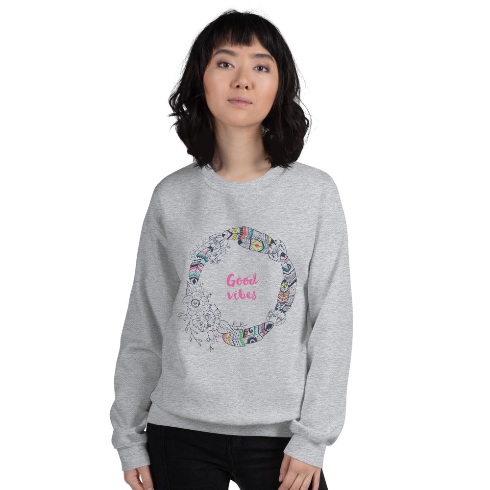 Good Vibes Sweatshirt | Grey Boho Vibes Sweatshirt for Women
