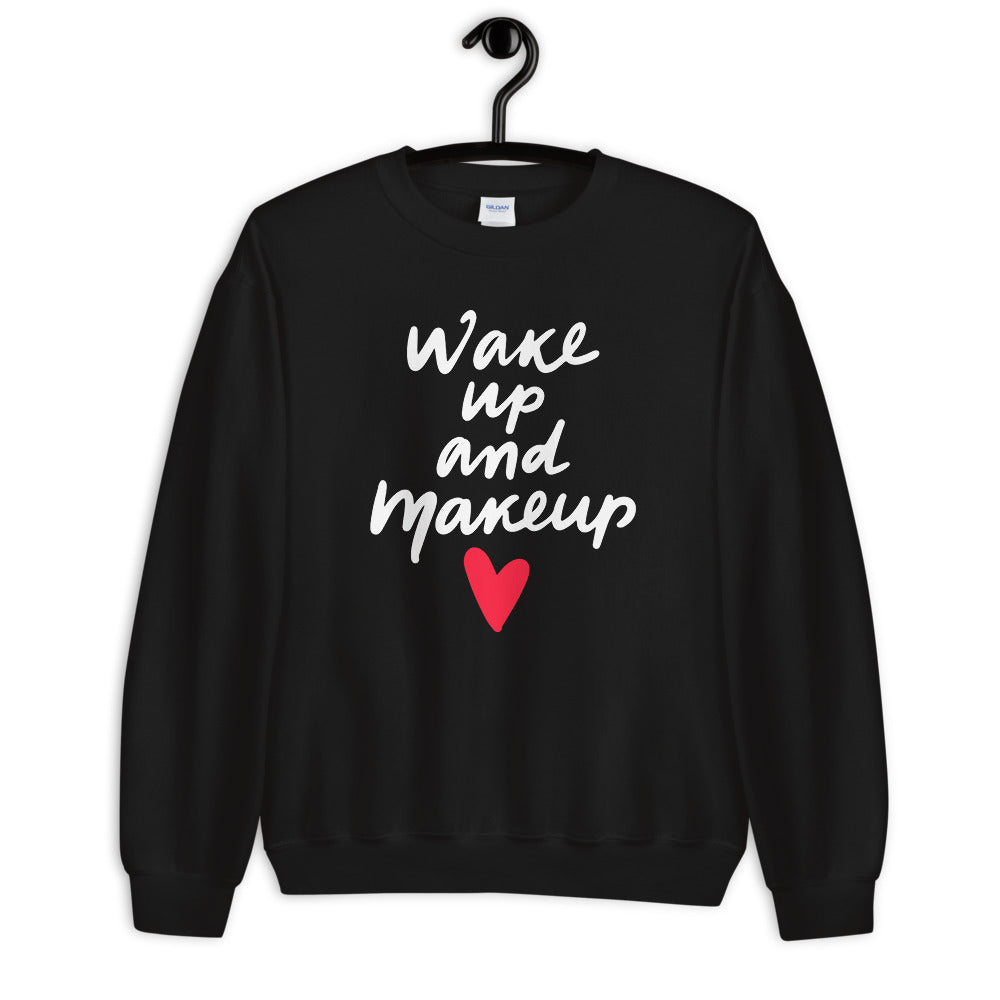 Wake Up and Makeup Sweatshirt in Black Color
