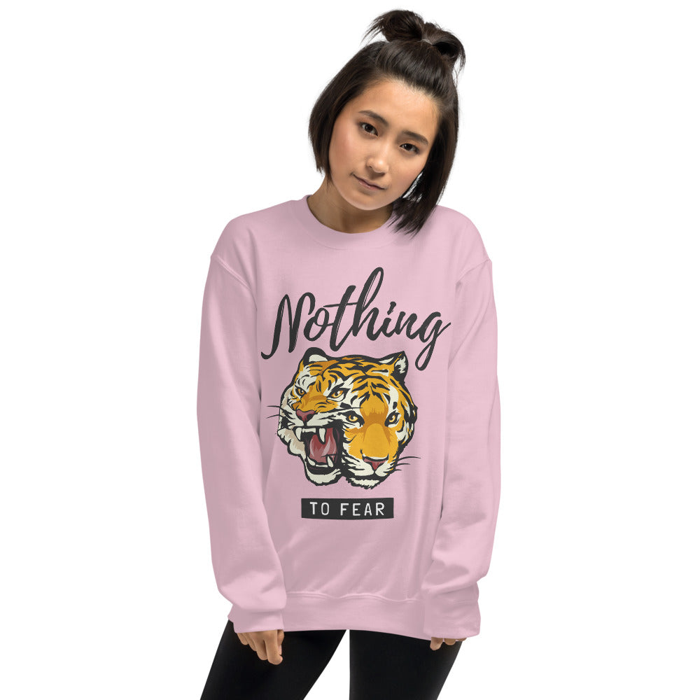 Nothing to Fear Tiger Motivational Quote Crewneck Sweatshirt