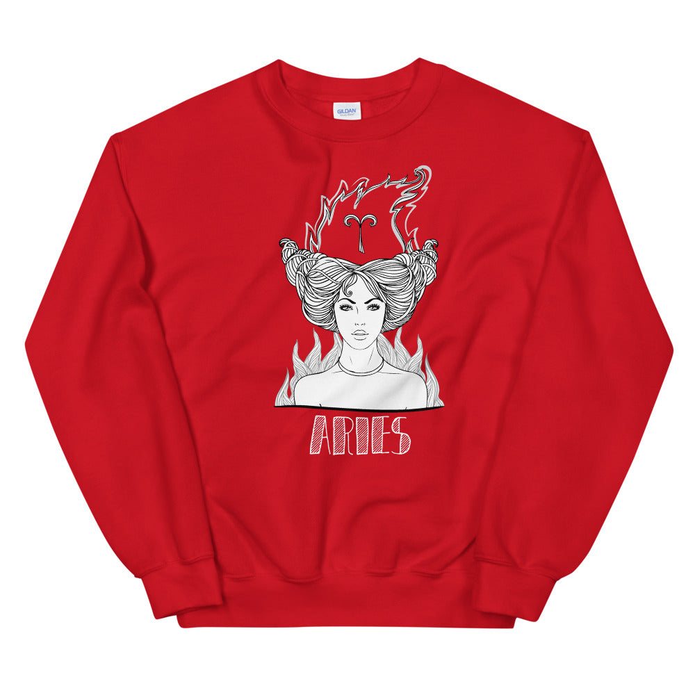 Aries Sweatshirt | Red Crewneck Aries Zodiac Sweatshirt