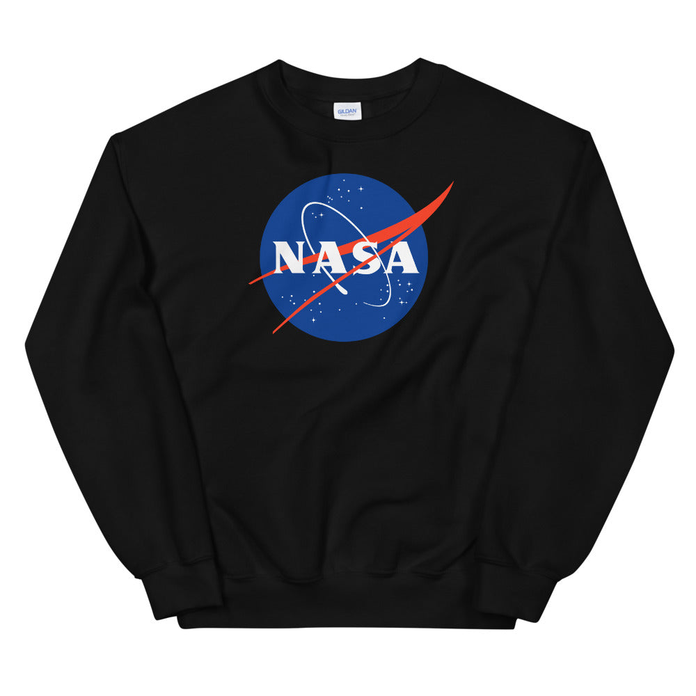 NASA Sweatshirt | Black Crewneck Nasa Logo Sweatshirt for Women and Girls