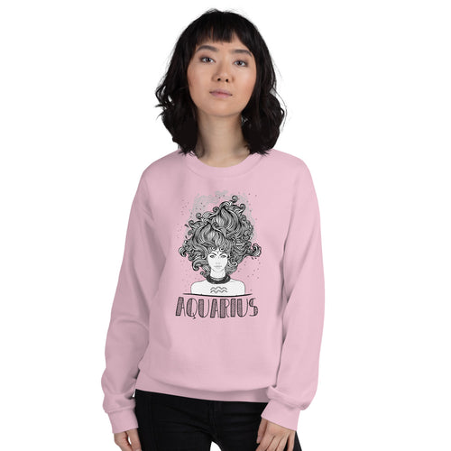 Aquarius Sweatshirt | Pink Crewneck Aquarius Zodiac Sweatshirt