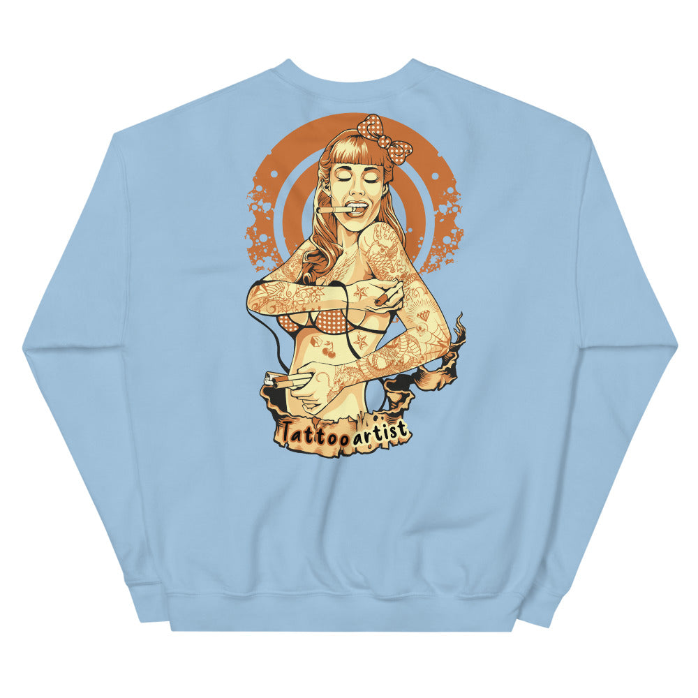 Tattoo Artist Back Print Crewneck Sweatshirt for Women