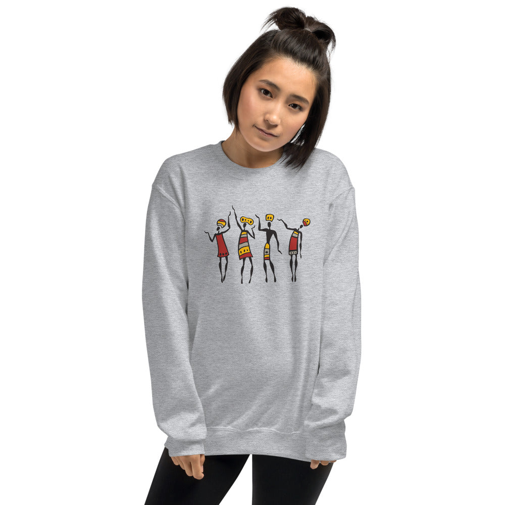 African Tribal Dance Crewneck Sweatshirt for Women
