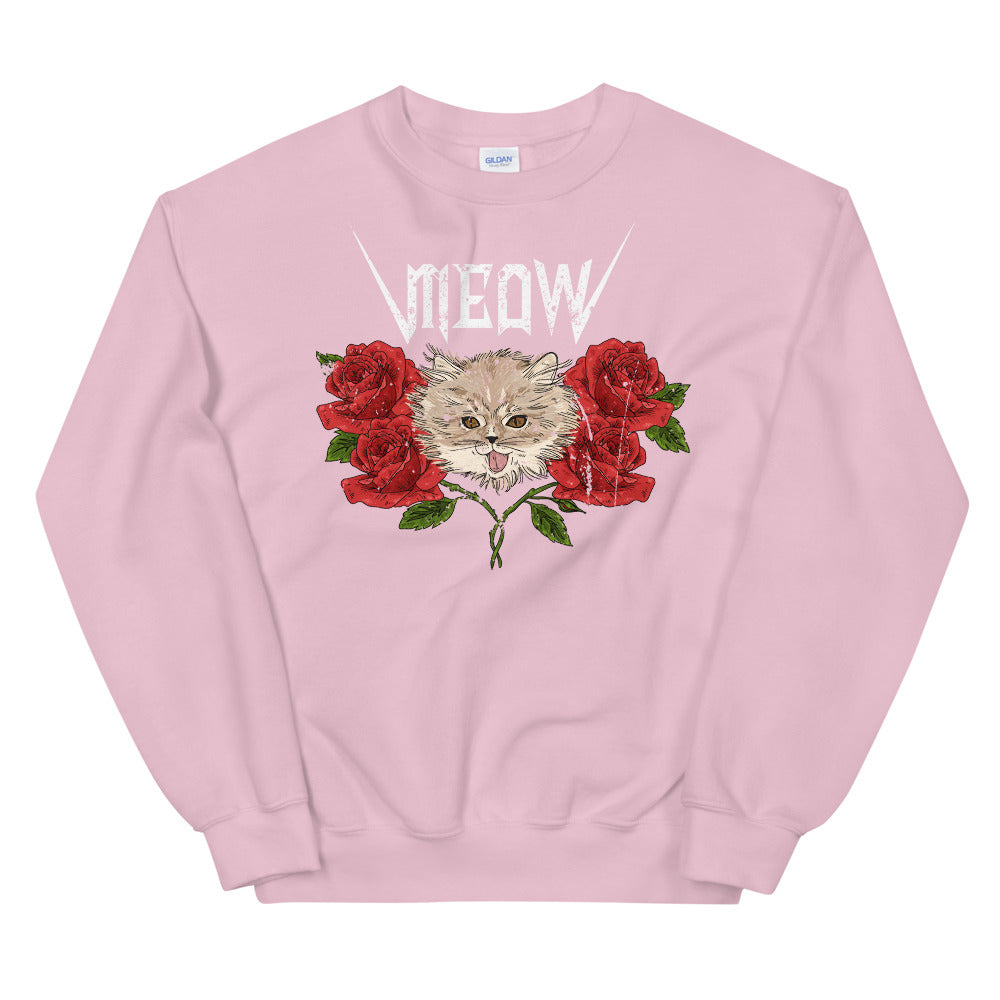 Meow Sweatshirt | Vintage design Cat Meow with Roses Sweatshirt for Women