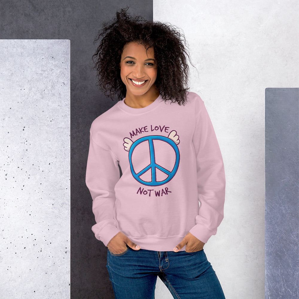 Make Love, Not War Sweatshirt | Pink Peace Day Slogan Sweatshirt