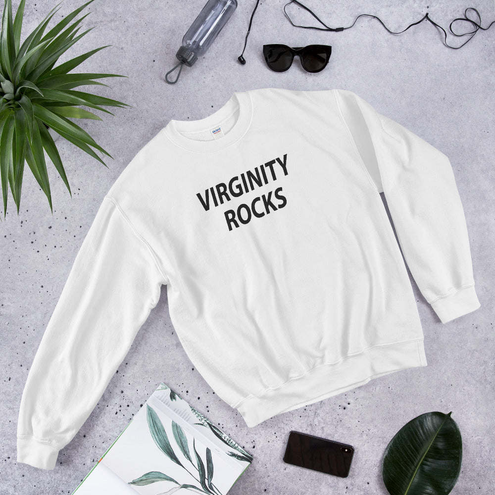 Virginity Rocks Sweatshirt | White Crewneck Virginity Rocks Sweatshirt for Women