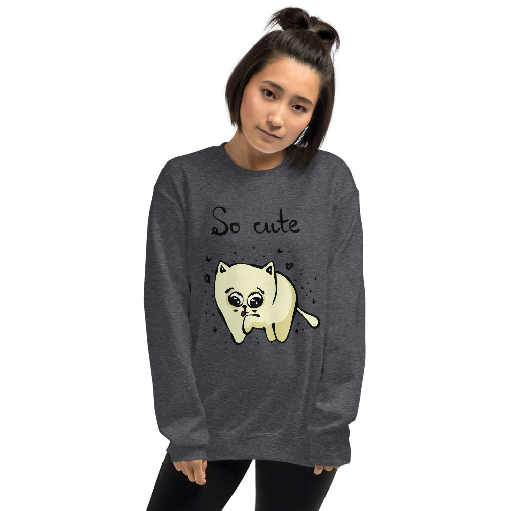 So Cute Cat Drawing Crewneck Sweatshirt for Women