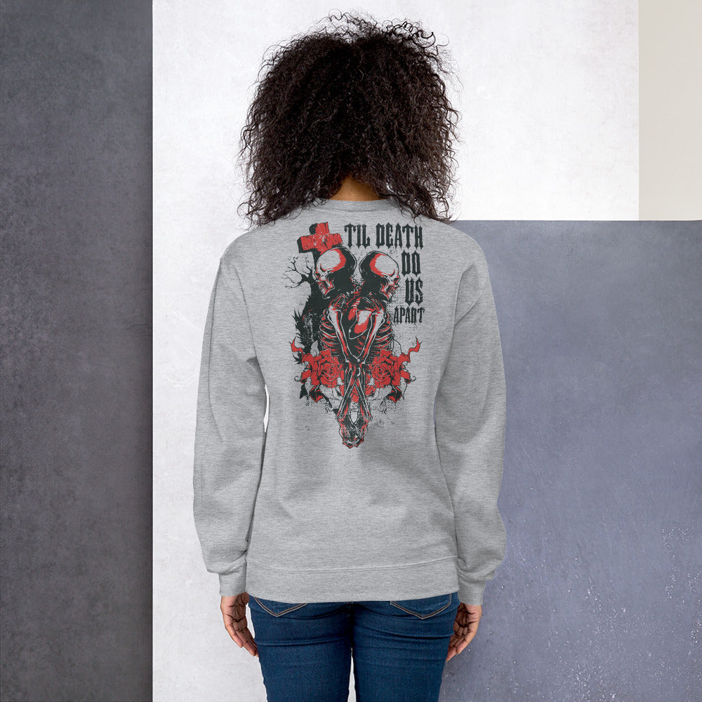 Till Death Do Us Apart Back Print Crewneck Sweatshirt for Women