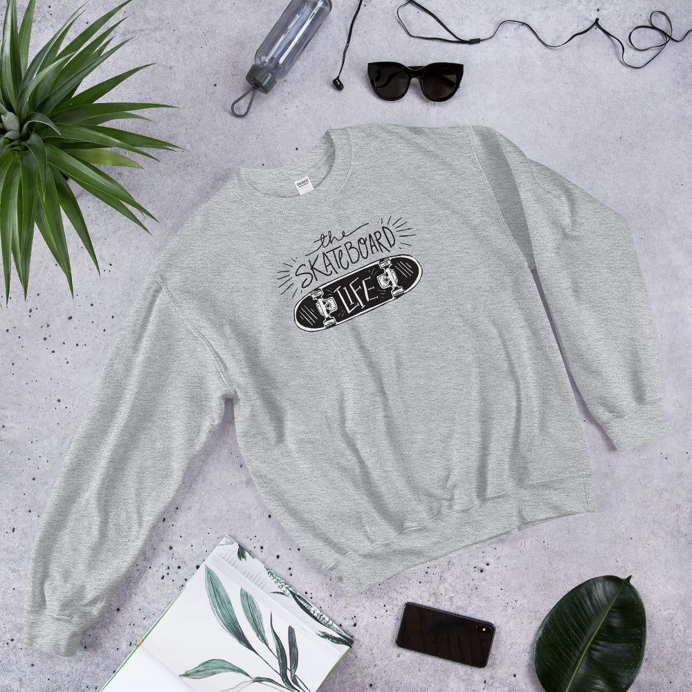 Skateboard Life Sweatshirt | Grey skating sweatshirt for Women