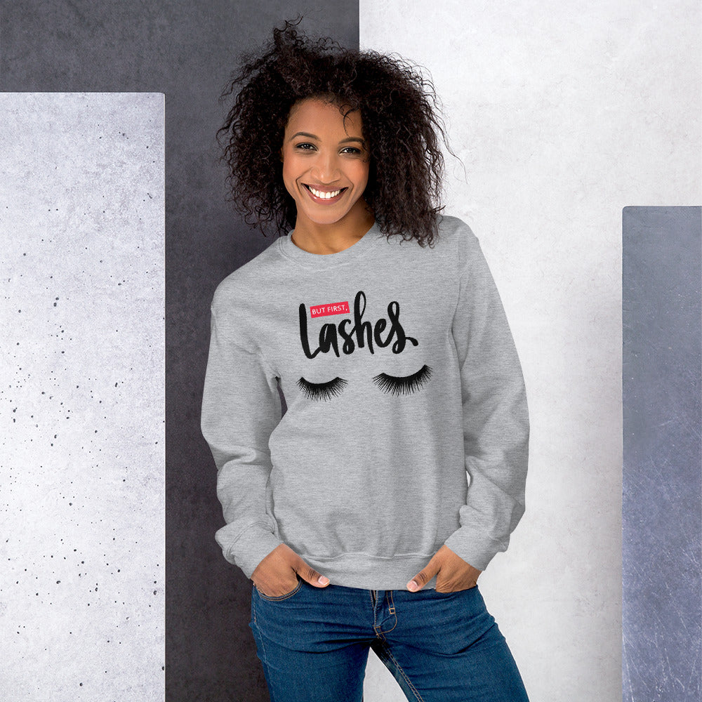 But First Lashes Sweatshirt | Grey Makeup Enthusiast Sweatshirt