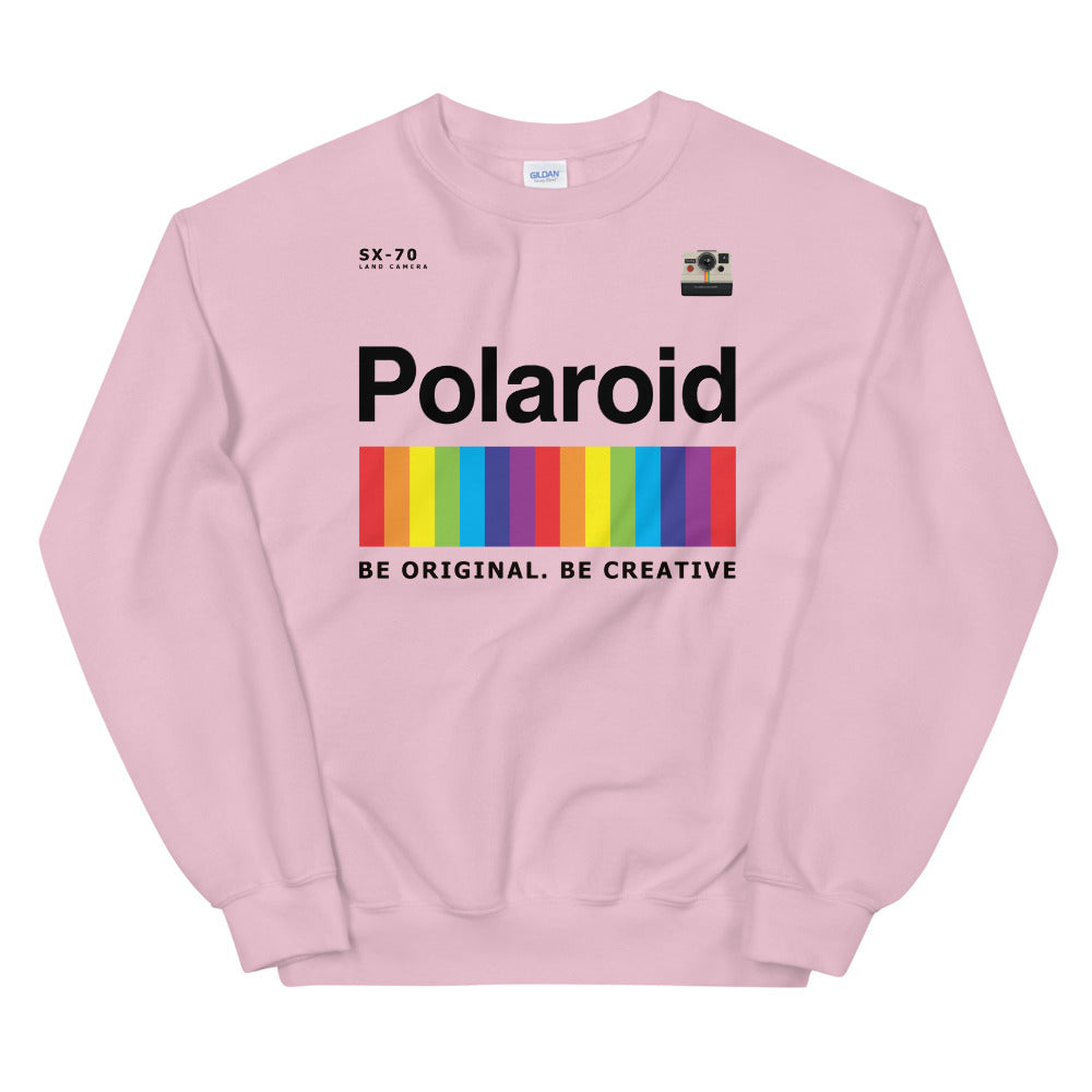 Polaroid Sweatshirt | Pink Crew Neck Rainbow Polaroid Logo Sweatshirt for Women