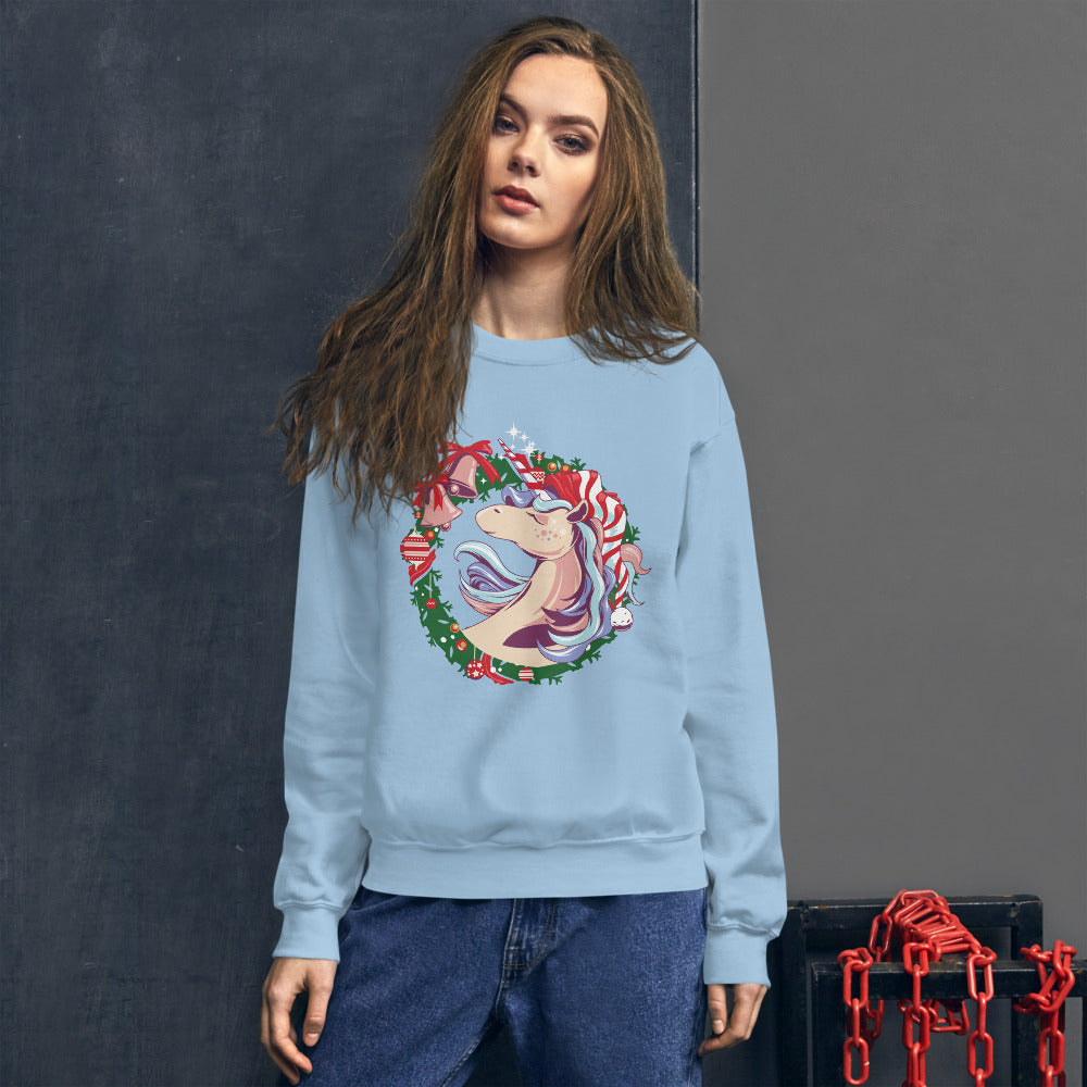 Santa Unicorn Christmas Crewneck Sweatshirt for Women
