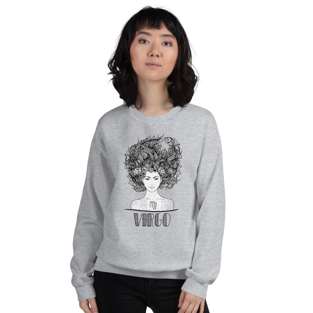 Virgo Sweatshirt | Grey Crewneck Virgo Zodiac Sweatshirt
