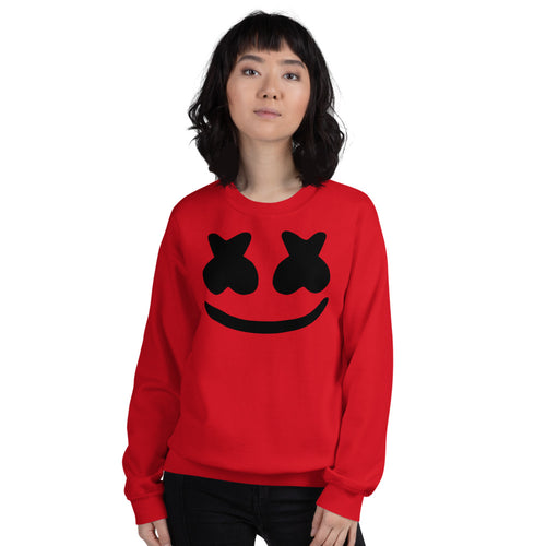 Red DJ Marshmello Pullover Crewneck Sweatshirt for Women