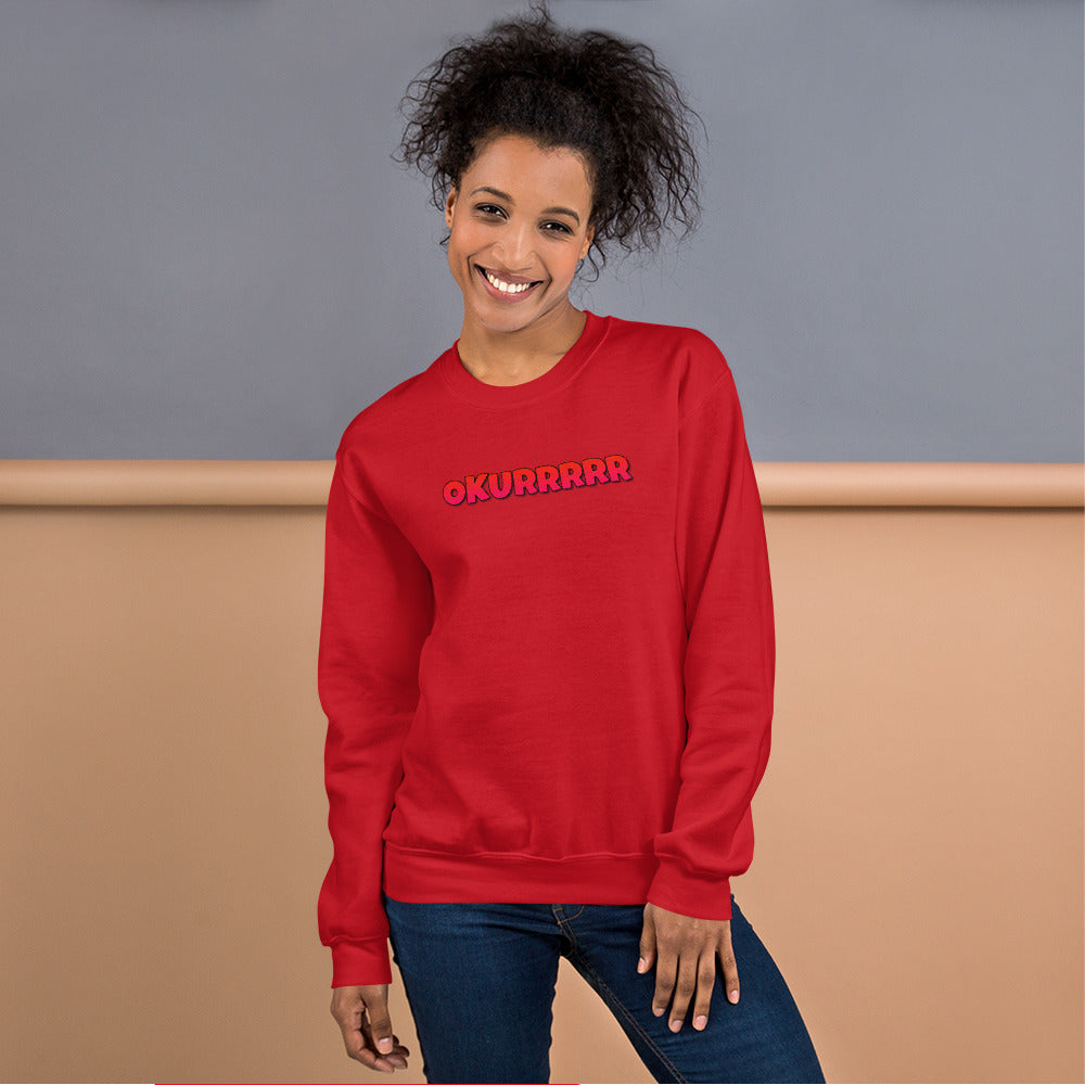 Okurrr Cardi B Meme Sweatshirt | Red Okurrr Sweatshirt for Women