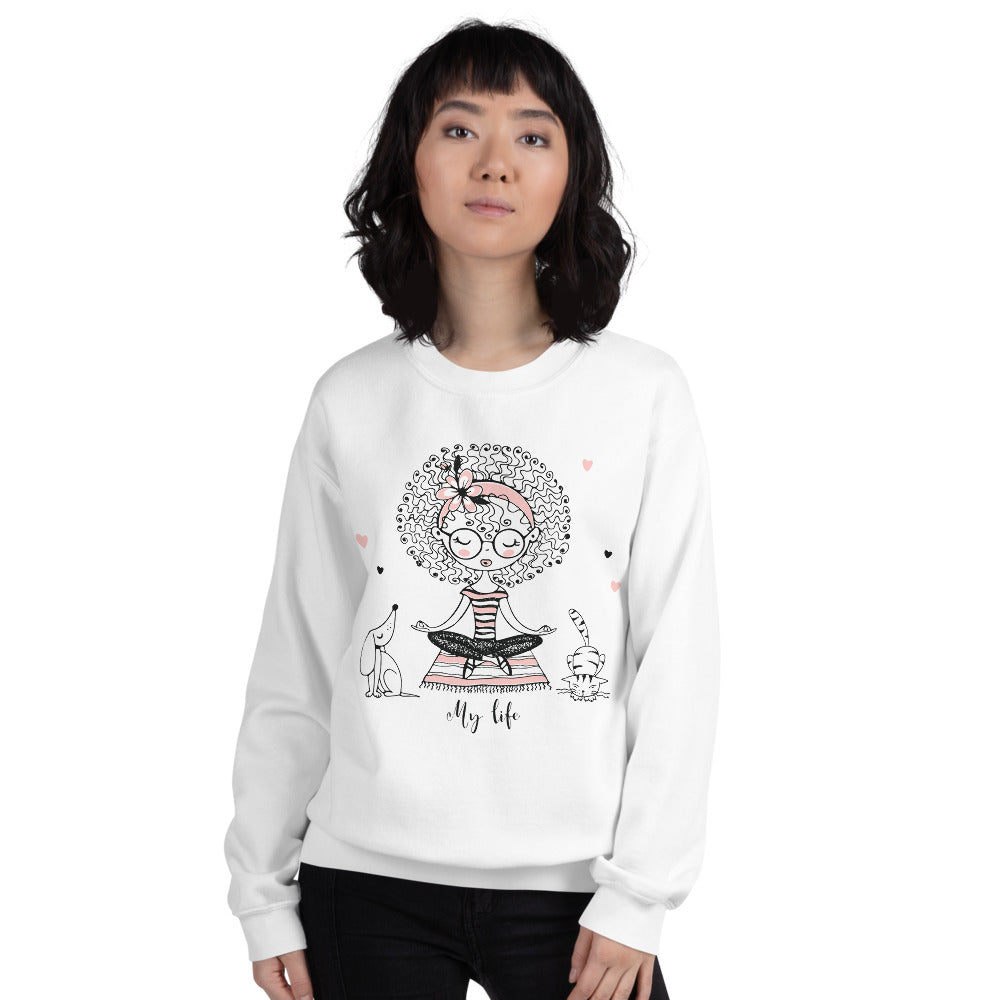 My Life Sweatshirt | White Yoga Girl Meditation Sweatshirt