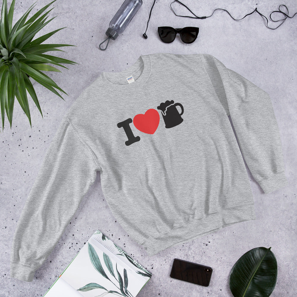 I love Beer Sweatshirt | Funny Beer Lover Crewneck for Women