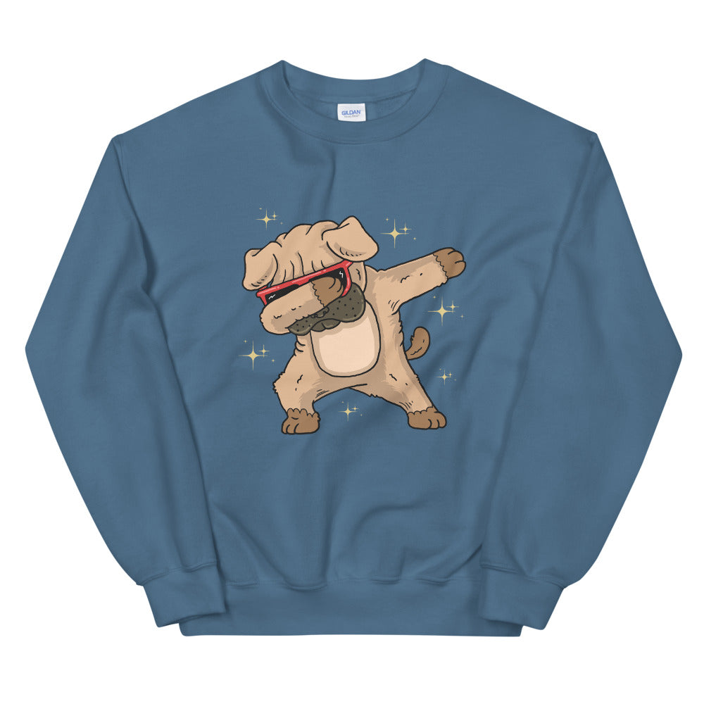 Dabbing Pug Sweatshirt | Funny Dabbing Dog Crewneck for Women