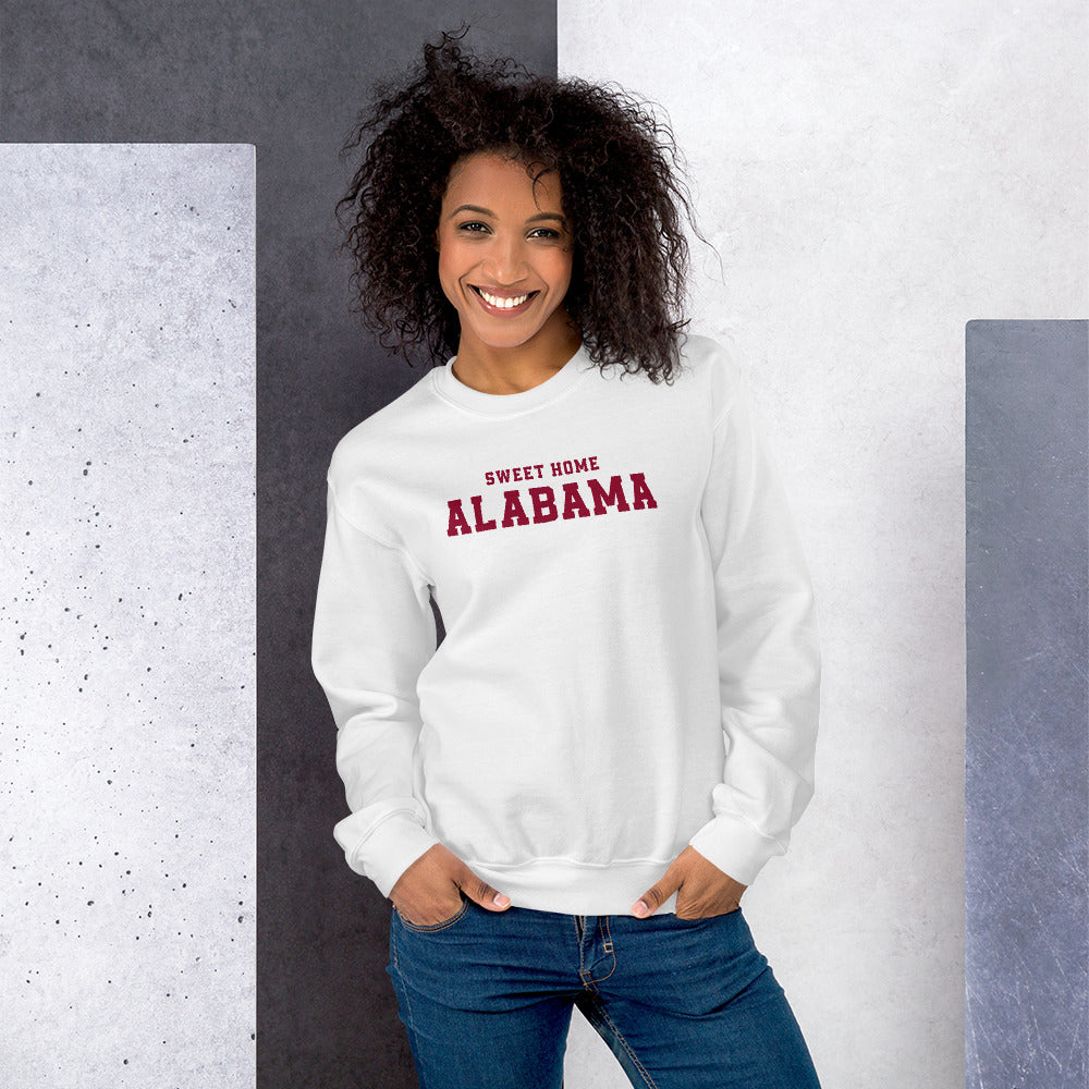 White Sweet Home Alabama Pullover Crewneck Sweatshirt for Women