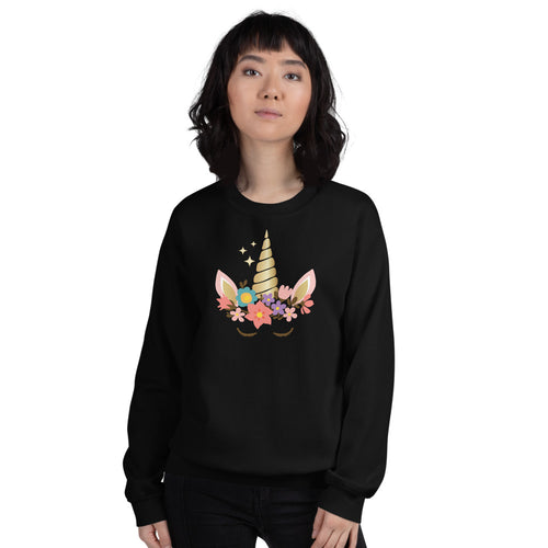 Unicorn Sweatshirt | Black Cute Unicorn Sweatshirt for Women
