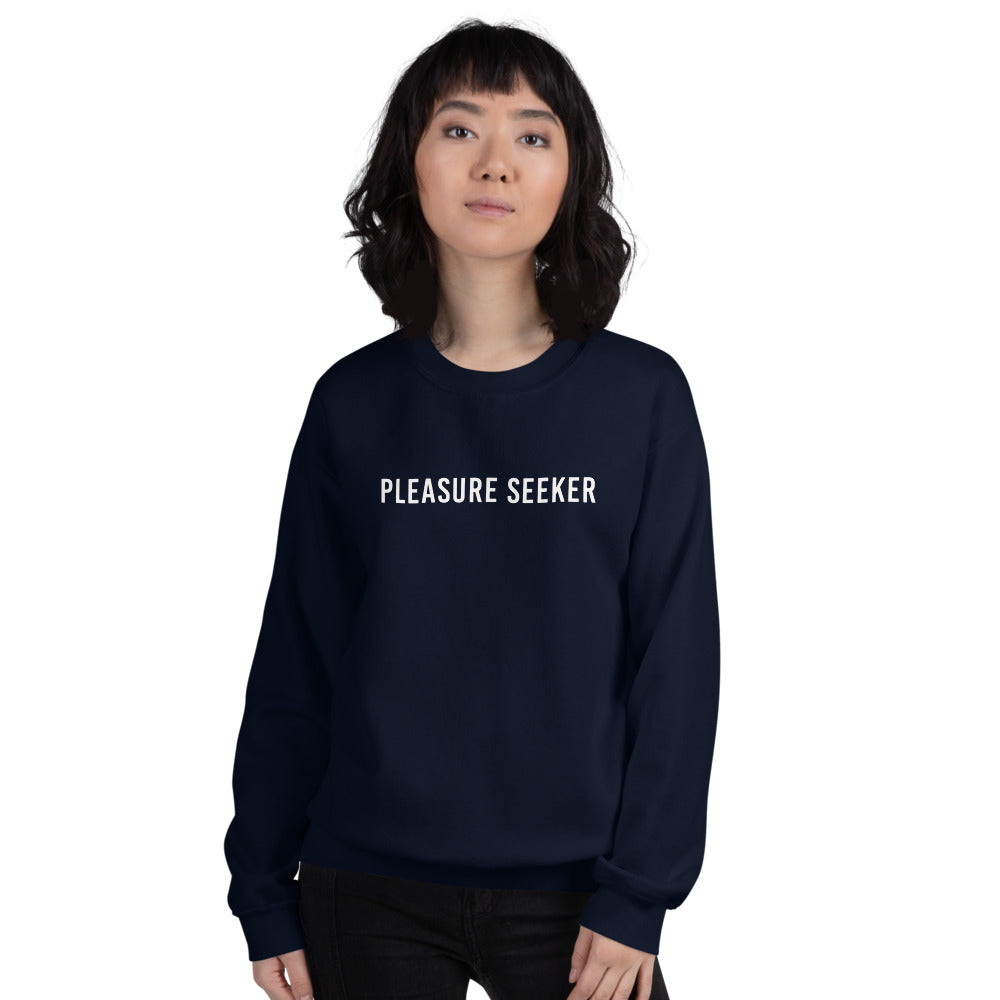 Pleasure Seeker Sweatshirt | Navy Crew Neck Pleasure Seeker Sweatshirt for Women