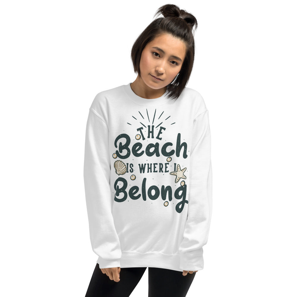 The Beach is Where I Belong Sweatshirt for Women in White Color
