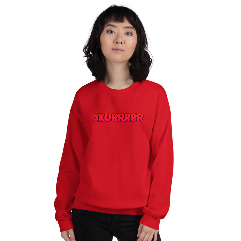 Red Okurrr Meme Pullover Crewneck Sweatshirt for Women