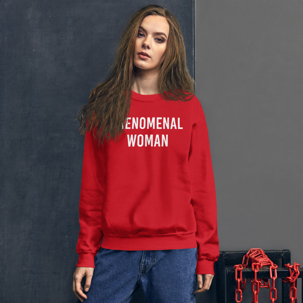 Phenomenal Woman Sweatshirt - Red Empowerment Sweatshirt for Women