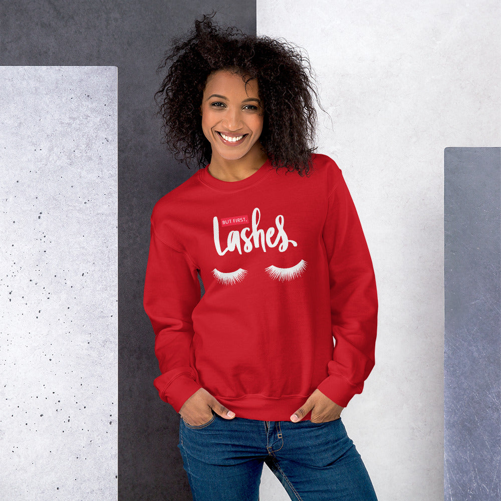 But First Lashes Sweatshirt | Red Makeup Enthusiast Sweatshirt
