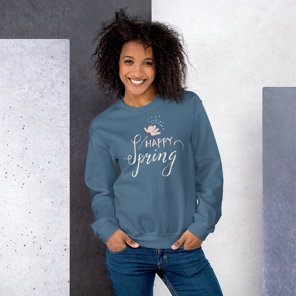 Happy Spring Crewneck Sweatshirt for Women