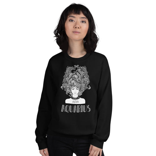 Aquarius Sweatshirt | Black Crewneck Aquarius Zodiac Sweatshirt