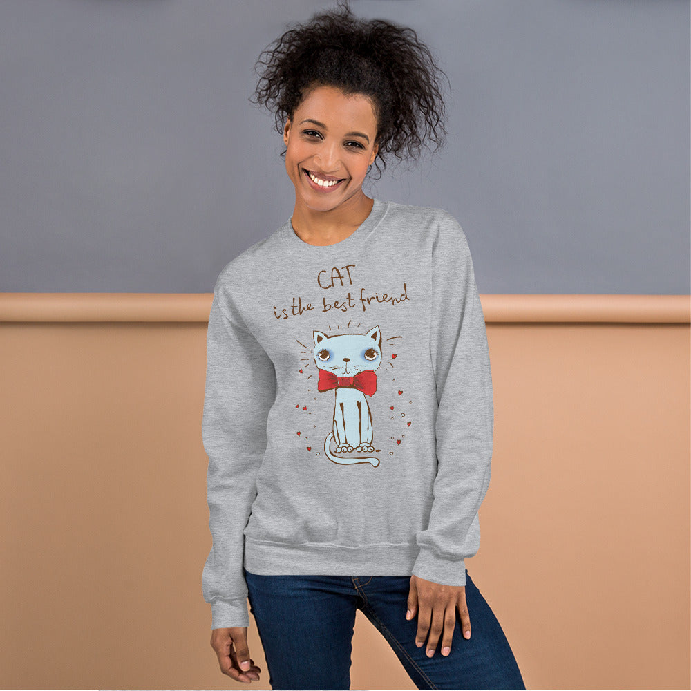 Cat is The Best Friend Sweatshirt, Cat lover Crewneck