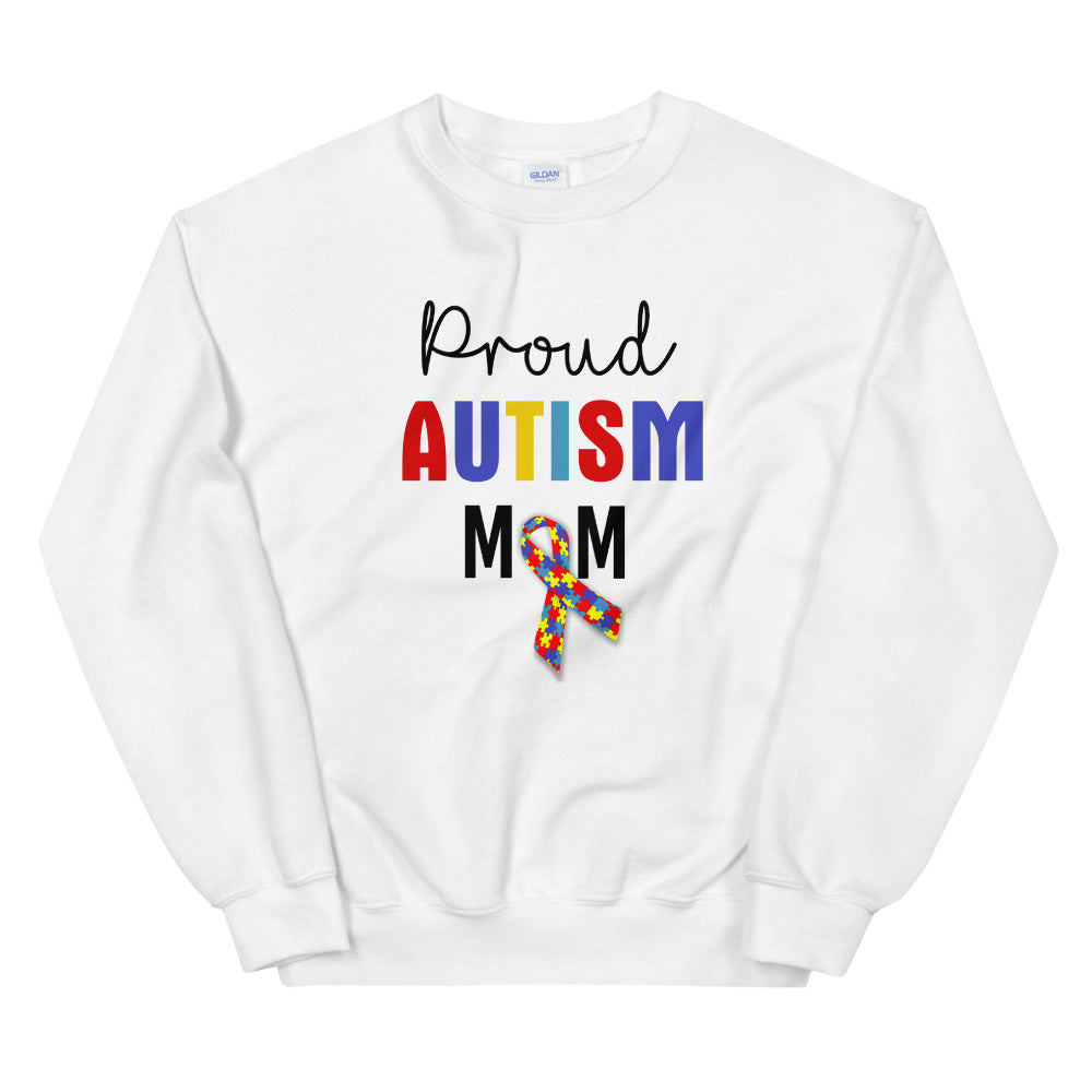 Proud Autism Mom Sweatshirt | White Proud Autism Mom Sweatshirt