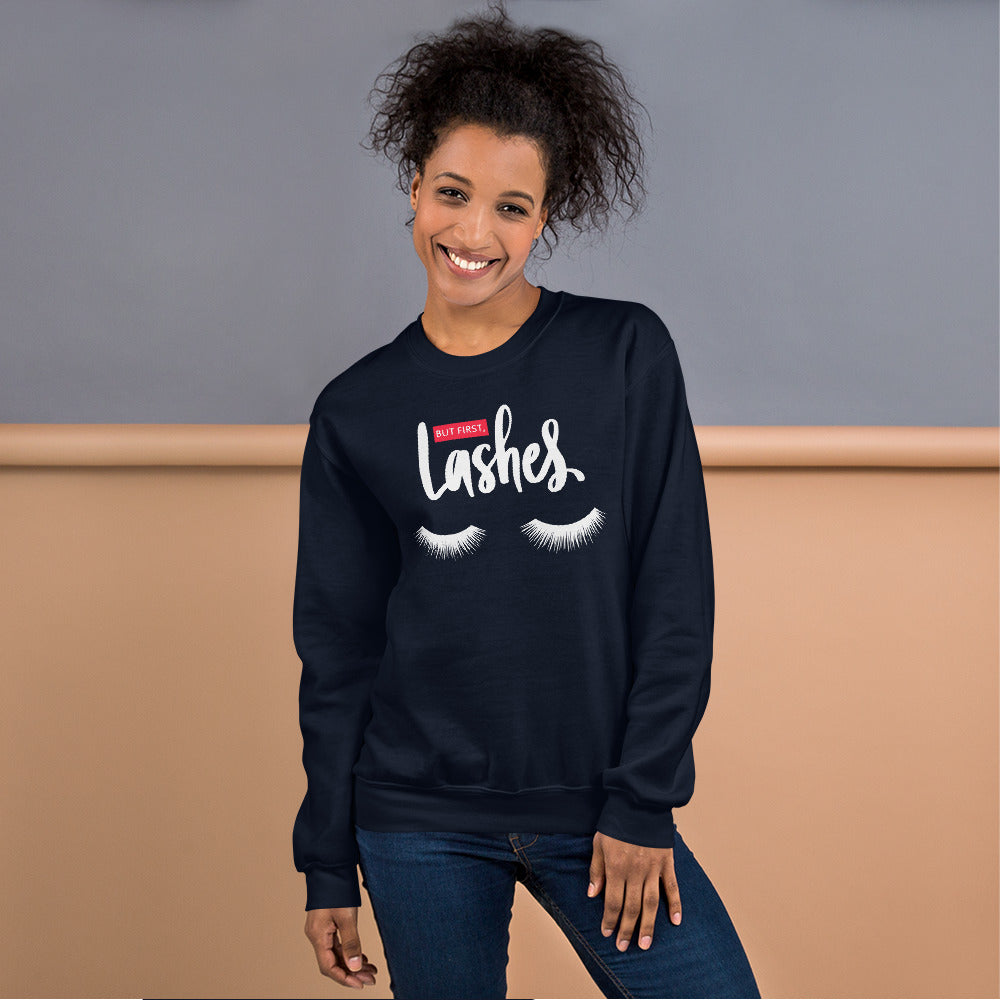 But First Lashes Sweatshirt | Navy Makeup Enthusiast Sweatshirt