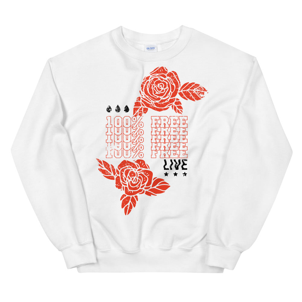Live 100% Free Empowerment Crewneck Sweatshirt for Women