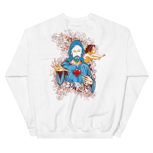 Back Print Jesus Sacred Heart Graphic Crewneck  Sweatshirt