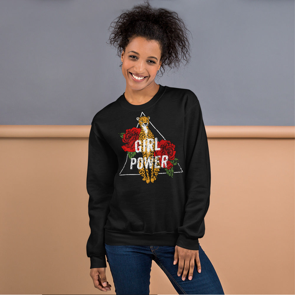 Girl Power Leopard Print Sweatshirt for Ladies