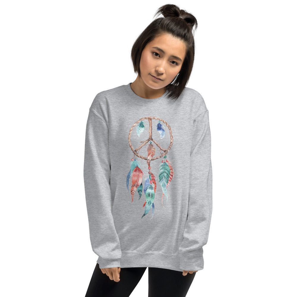Dreamcatcher Sweatshirt | Grey Spiritual Peace Dreamcatcher Sweatshirt