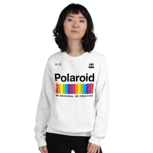 Polaroid Sweatshirt | White Crew Neck Rainbow Polaroid Logo Sweatshirt for Women